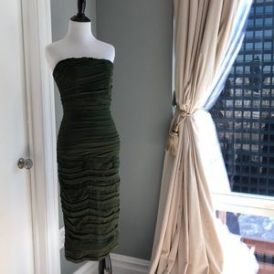 Alice and Olivia olive green strapless dress
